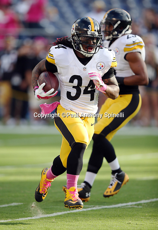 Pittsburgh Steelers running back DeAngelo Williams (34) runs with the ball while warming up before the 2015 NFL week 5 regular season football game against the San Diego Chargers on Monday, Oct. 12, 2015 in San Diego. The Steelers won the game 24-20. (©Paul Anthony Spinelli)