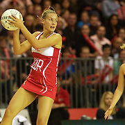 Tamsin Greenway, England, in action during the New Zealand V England, New World International Netball Series, at the ILT Velodrome, Invercargill, New Zealand. 6th October 2011. Photo Tim Clayton...