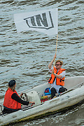 Ribs from the in campaign dart amongst the fleet - Nigel Farage, the leader of Ukip, joins a flotilla of fishing trawlers up the Thames to Parliament to call for the UK's withdrawal from the EU, in a protest timed to coincide with prime minister's questions.