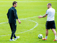 01/07/14<br /> CELTIC TRAINING<br /> AUSTRIA<br /> Celtic manager Ronny Deila (left) speaks to striker Anthony Stokes