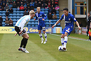 Gillingham defender Bradley Garmston during the Sky Bet League 1 match between Gillingham and Shrewsbury Town at the MEMS Priestfield Stadium, Gillingham, England on 23 April 2016. Photo by Martin Cole.