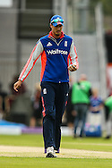 Steven Finn of England warms up before the 3rd One Day International match at Old Trafford Cricket Ground, Stretford<br /> Picture by Andy Kearns/Focus Images Ltd 0781 864 4264<br /> 08/09/2015