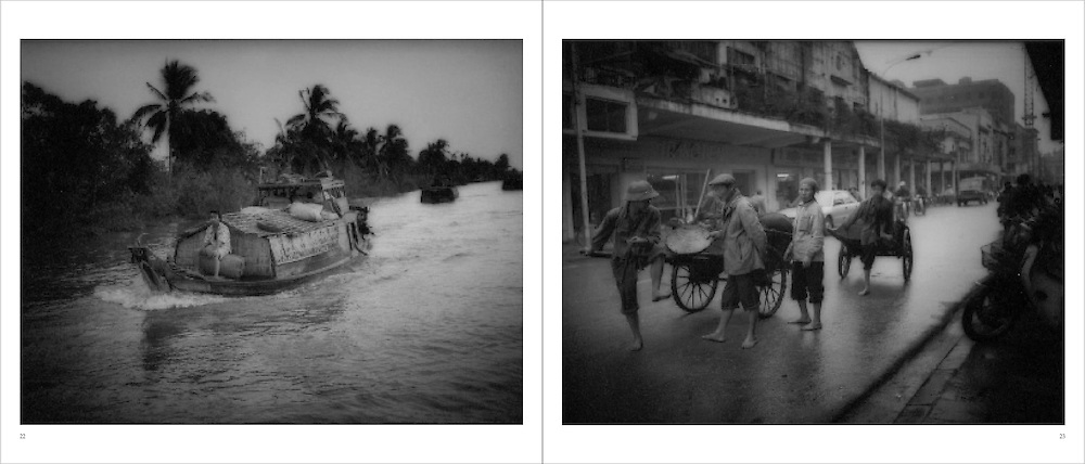 L:  River traffic on canal in the Mekong River Delta, Vietnam...R:  Barefoot workers leading carts through Hanoi, Vietnam.