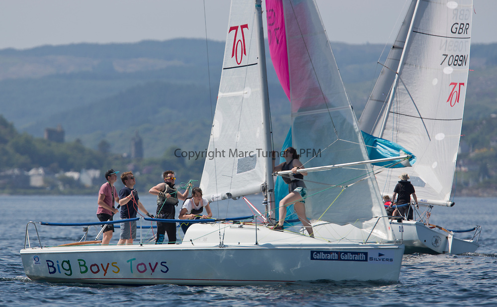 Silvers Marine Scottish Series 2017<br /> Tarbert Loch Fyne - Sailing<br /> <br /> GBR7096N, Big Boys Toys, Emily Smith, Glasgow University SC, Hunter 707 OD<br /> <br /> Credit Marc Turner / PFM