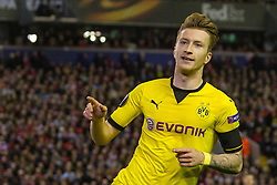 14.04.2016, Anfield Road, Liverpool, ENG, UEFA EL, FC Liverpool vs Borussia Dortmund, Viertelfinale, Rueckspiel, im Bild Marco Reus (Borussia Dortmund #11) beim Torjubel nach dem Treffer zum 3:1 // during the UEFA Europa League Quaterfinal, 2nd Leg match between FC Liverpool vs Borussia Dortmund at the Anfield Road in Liverpool, Great Britain on 2016/04/14. EXPA Pictures &copy; 2016, PhotoCredit: EXPA/ Eibner-Pressefoto/ Schueler<br /> <br /> *****ATTENTION - OUT of GER*****