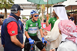 March 1, 2019 - Emirati Arabi Uniti - Foto LaPresse - Massimo Paolone.1 Marzo 2019 Emirati Arabi Uniti.Sport Ciclismo.UAE Tour 2019 - Tappa 6 - da Ajman a Jebel Jais - 180 km.Nella foto: Sheikh Ahmed Bin Humaid Al-Nuaimi, Saeed Hareb con Stepan Kuriyanov (Gazprom - RusVelo)..Photo LaPresse - Massimo Paolone.March 1, 2019 United Arab Emirates.Sport Cycling.UAE Tour 2019 - Stage 6 - Ajman to Jebel Jais - 111,8 miles.In the pic: Sheikh Ahmed Bin Humaid Al-Nuaimi, Saeed Hareb with Stepan Kuriyanov  (Credit Image: © Massimo Paolone/Lapresse via ZUMA Press)