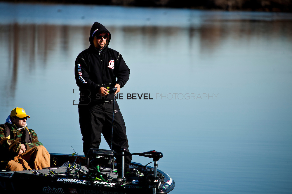 2/25/12 10:24:22 AM -- during the 2012 Bassmaster Classic on the Red River in Shreveport, La. ..Photo by Shane BevelFred Roumbanis of Bixby, Okla. fishes on the Red River
