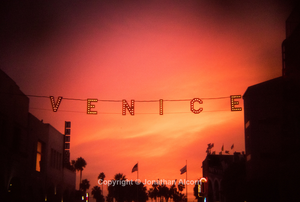 The iconic VENICE sign at Venice Beach, California photographed with a Holga lens on a Canon 5D MK IV