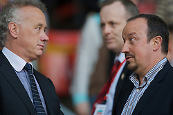 LIVERPOOL, ENGLAND - Wednesday, May 7, 2008: Liverpool's manager Rafael Benitez and Chief-Executive Rick Parry before the play-off final of the FA Premier League Reserve League at Anfield. (Photo by David Rawcliffe/Propaganda)