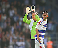 Loftus Road, London - Saturday 11th September 2010: Paddy Kenny (1) of QPR and Matthew Connolly (16) of QPR celebrate winning 3-0 after the Npower Championship match between Queens Park Rangers and Middlesborough. (Photo by Andrew Tobin/Focus Images)