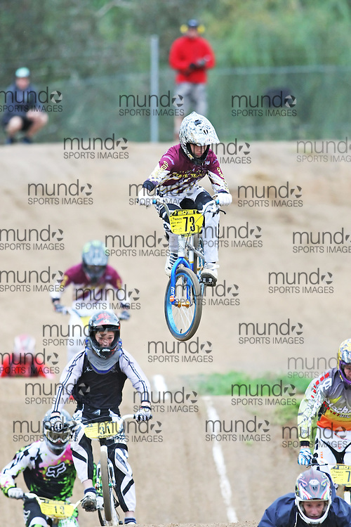 (Canberra, Australia---03 March 2012) Clayton Zarb of Queensland competing in stage 5 of the BMX Australia Boys under 15 Champbix series at the Melba BMX Track in Canberra, Australia. Photograph 2012 Copyright Sean Burges / Mundo Sport Images. For reproduction rights and information in Australia, contact seanburges@yahoo.com. For information elsewhere contact info@mundosportimages.com.