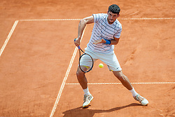 Dusan Lajovic of Serbia and Franko Skugor of Croatia during a tennis match against the Frantisek Cermak and Lukas Rosol of Czech Republic in final of doubles at 25th Vegeta Croatia Open Umag, on July 27, 2014, in Stella Maris, Umag, Croatia. Photo by Urban Urbanc / Sportida