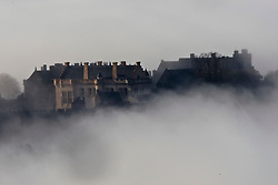 Stirling Castle seen through morning mist. The castle stands on the summit of Castle Hill and is one of the largest and most important castles, both historically and architecturally, in Scotland..Pic ©2010 Michael Schofield. All Rights Reserved.