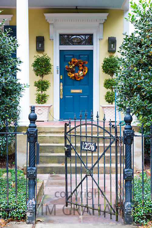 Festive wreath on traditional grand mansion house in the Garden District of New Orleans, Louisiana, USA