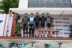 The Drops Cycling Team stand on the sign-on podium before Stage 2 of the Emakumeen Bira - a 90.8 km road race, starting and finishing in Markina Xemein on May 18, 2017, in Basque Country, Spain. (Photo by Balint Hamvas/Velofocus)