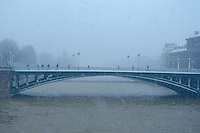 Paris, bridge during a snow storm - Photograph by Owen Franken - Photograph by Owen Franken