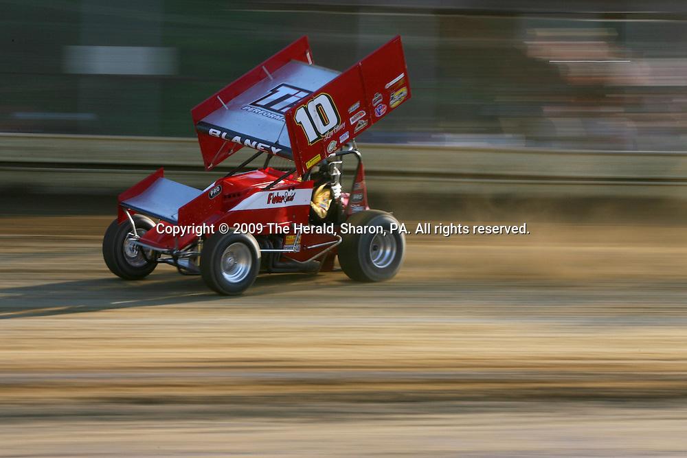 Dale Blaney speeds through a turn at Sharon Speedway.