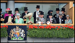 HM The Queen with Prince Charles, The Duchess of Cornwall and the Duke of Gloucester look at horses in the parade ring from the royal box at Royal Ascot 2013<br /> Ascot, United Kingdom<br /> Wednesday, 19th June 2013<br /> Picture by Andrew Parsons / i-Images