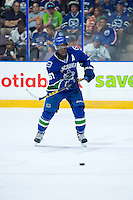 PENTICTON, CANADA - SEPTEMBER 16: Jordan Subban #67 of Vancouver Canucks passes the puck against the Edmonton Oilers on September 16, 2016 at the South Okanagan Event Centre in Penticton, British Columbia, Canada.  (Photo by Marissa Baecker/Shoot the Breeze)  *** Local Caption *** Jordan Subban;