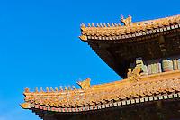 Chine, Pékin (Beijing), Cité Interdite, classée Patrimoine Mondial de l'UNESCO, décoration de toiture en terre cuite.