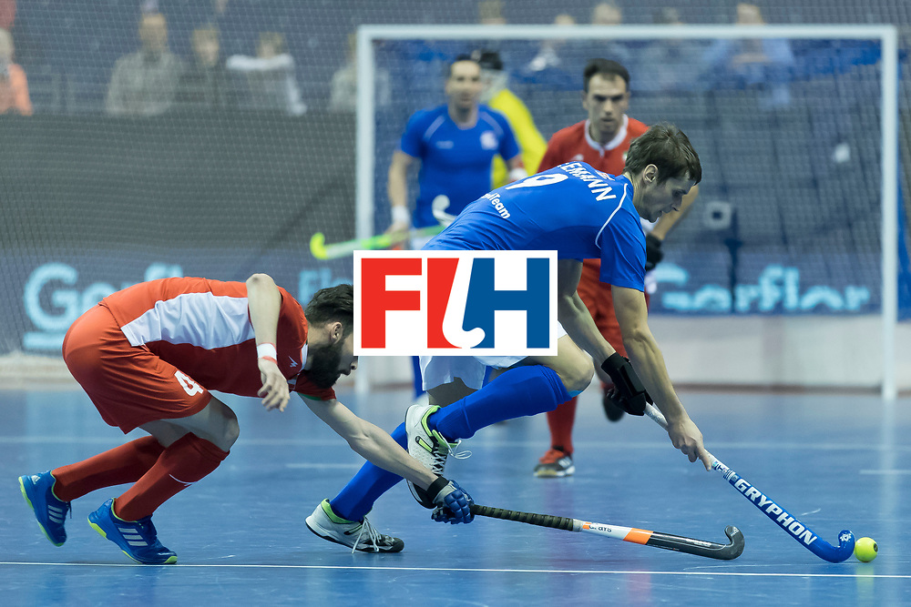 Hockey, Seizoen 2017-2018, 09-02-2018, Berlijn,  Max-Schmelling Halle, WK Zaalhockey 2018 MEN, Iran - Czech Republic 2-2 Iran Wins after shoutouts, Mohammad Asnaashari and Martin Seeman.