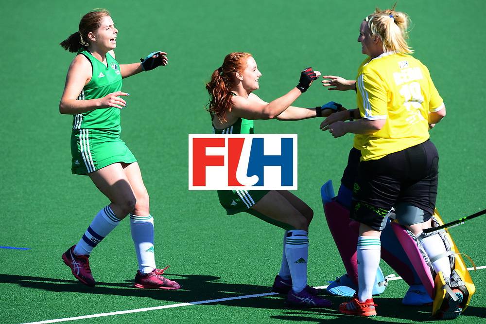 JOHANNESBURG, SOUTH AFRICA - JULY 22: Anna O'Flanagan and Ayeisha McFerran of Ireland celebrate during day 8 of the FIH Hockey World League Women's Semi Finals 7th-8th place match between India and Ireland at Wits University on July 22, 2017 in Johannesburg, South Africa. (Photo by Getty Images/Getty Images)