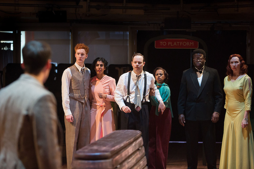 A Royal Exchange Theatre and Told by an Idiot production of The Ghost Train by Arnold Ridley. Directed by Paul Hunter. Cast: Sam Alexander, Femi Elufowoju Jr., Calum Finlay, Amanda Hadingue, Lena Kaur, Javier Marzan, Will Merrick, Ayesha Antoine, Joanna Holden.