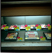 Plastic sushi samples on display in take out sushi restaurant window, Tokyo, Japan.