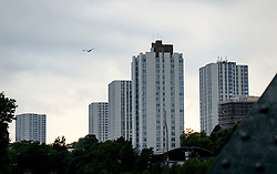 © Licensed to London News Pictures. 24/06/2017. London, UK. General view showing the Chalcots estate in Swiss Cottage, Camden, where residents have refused to leave. Residents have been asked to leave their apartments on the north london estate after government tests found cladding on the building were flammable, making the buildings unsafe. Photo credit: Andre Camara/LNP