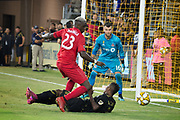 LAFC forward Latif Blessing (7) is fouled by Toronto FC defender Chris Mavinga (23) during an MLS soccer game between the LAFC and the Toronto FC. LAFC and Toronto FC tied 1-1 on Saturday, Sept 21, 2019, in Los Angeles. (Ed Ruvalcaba/Image of Sport)