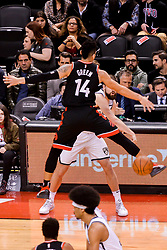 February 11, 2019 - Toronto, Ontario, Canada - Danny Green #14 of the Toronto Raptors tries to block the ball during the Toronto Raptors vs Brooklyn Nets NBA regular season game at Scotiabank Arena on February 11, 2019, in Toronto, Canada (Toronto Raptors win 127-125) (Credit Image: © Anatoliy Cherkasov/NurPhoto via ZUMA Press)