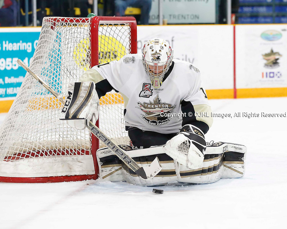TRENTON, ON - MAR 3,  2017: Ontario Junior Hockey League, playoff game between the Trenton Golden Hawks and the Newmarket Hurricanes., Chris Janzen #1 of the Trenton Golden Hawks makes the save during the second period<br /> (Photo by Amy Deroche / OJHL Images)