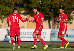ORHEI, MOLDOVA - Friday, October 11, 2019: Wales' Brandon Cooper (C) celebrates after his side's opening goal during the UEFA Under-21 Championship Italy 2019 Qualifying Group 9 match between Moldova and Wales at the Orhei District Sports Complex. (Pic by Kunjan Malde/Propaganda)