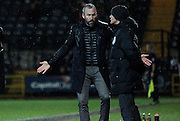 Notts manager Shaun Derry infuriated by a refereeing decision during the Sky Bet League 1 match between Notts County and Milton Keynes Dons at Meadow Lane, Nottingham, England on 26 December 2014. Photo by Jodie Minter.