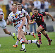 Tom Olbison of Bradford Bulls breaks away to set up a try for Adrian Purtell during the First Utility Super League match at Odsal Stadium, Bradford<br /> Picture by Richard Land/Focus Images Ltd +44 7713 507003<br /> 01/06/2014