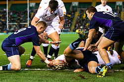 Tom Willis of England U20 scores a try but it is disallowed - Mandatory by-line: Robbie Stephenson/JMP - 15/03/2019 - RUGBY - Franklin's Gardens - Northampton, England - England U20 v Scotland U20 - Six Nations U20