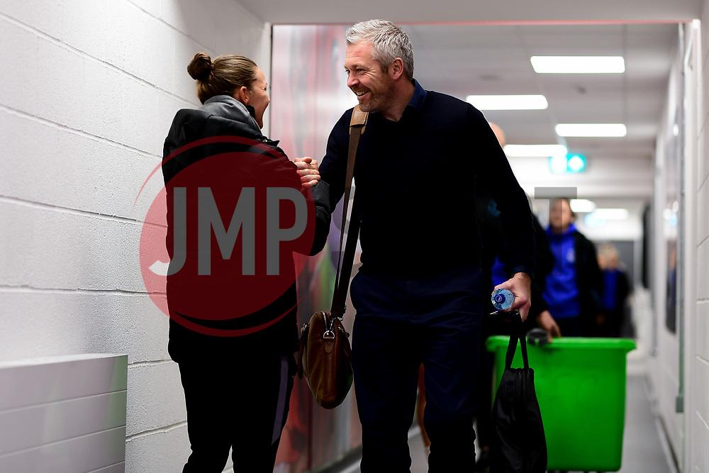 Loren Dykes of Bristol City shakes hands with Willie Kirk head coach of Everton Women  - Mandatory by-line: Ryan Hiscott/JMP - 17/02/2020 - FOOTBALL - Stoke Gifford Stadium - Bristol, England - Bristol City Women v Everton Women - Women's FA Cup fifth round