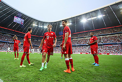 04.08.2015, Allianz Arena, Muenchen, GER, AUDI CUP, Real Madrid vs Tottenham Hotspur, im Bild vl: Thomas Mueller (FC Bayern Muenchen #25), Gianluca Gaudino (FC Bayern Muenchen #16), Robert Lewandowski (FC Bayern Muenchen #9) und Mehdi Benatia (FC Bayern Muenchen #5) // during the 2015 AUDI Cup Match between Real Madrid CF and Tottenham Hotspur at the Allianz Arena in Muenchen, Germany on 2015/08/04. EXPA Pictures © 2015, PhotoCredit: EXPA/ Eibner-Pressefoto/ Schüler<br /> <br /> *****ATTENTION - OUT of GER*****