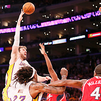 03 November 2013: Los Angeles Lakers power forward Pau Gasol (16) goes for the skyhook during the Los Angeles Lakers 105-103 victory over the Atlanta Hawks at the Staples Center, Los Angeles, California, USA.