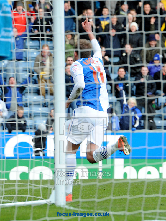 Picture by Alan Wright/Focus Images Ltd 07733 196489.29/03/2013.Jordan Rhodes of Blackburn Rovers celebrates scoring the equalising  goal against Blackpool during the npower Championship league match at Ewood Park, Blackburn.