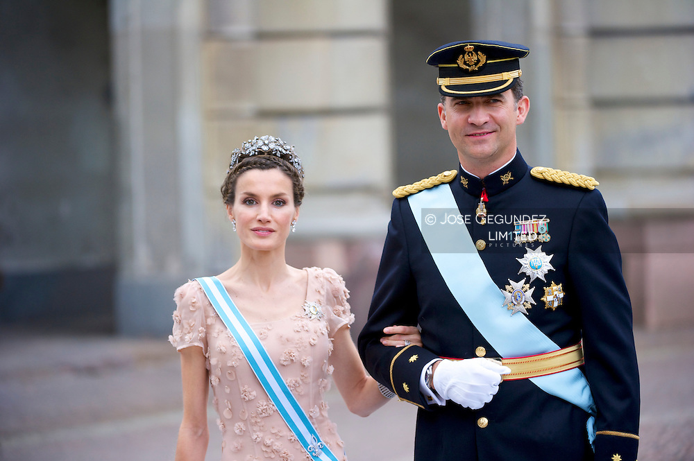 Felipe the Prince of Asturias and Letizia the Princess of Asturias attend the wedding of Crown Princess Victoria of Sweden and Daniel Westling on June 19, 2010 in Stockholm, Sweden