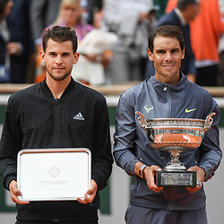 Dominic Thiem (AUT) and Rafael Nadal pose with their trophy during the men Final of Roland Garros on June 9, 2019 in Paris, France. (Photo by Anthony Dibon/Icon Sport)