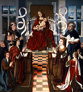 Virgen de los Reyes Católicos 15th Century anonymous painting showing Queen Elizabeth (right), on the left  King Ferdinand, Prince John and the Inquisitor General, Tomas de Torquemada.