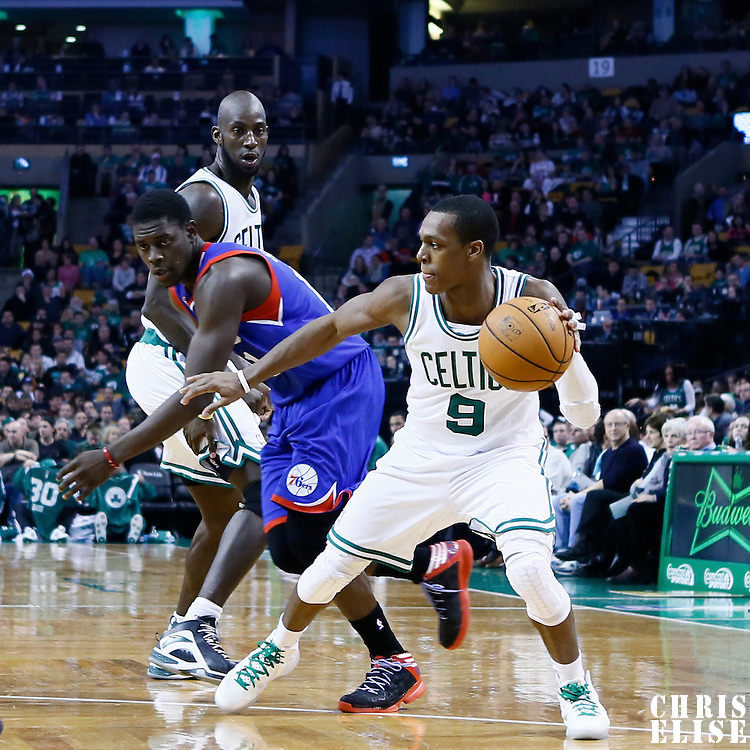 08 December 2012: Boston Celtics point guard Rajon Rondo (9) drives past Philadelphia 76ers point guard Jrue Holiday (11) on a screen set by Boston Celtics power forward Kevin Garnett (5) during the Boston Celtics 92-79 victory over the Philadelphia 76ers at the TD Garden, Boston, Massachusetts, USA.