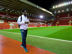 LIVERPOOL, ENGLAND - Wednesday, March 2, 2016: Manchester City's Wilfried Bony arrives before the Premier League match against Liverpool at Anfield. (Pic by David Rawcliffe/Propaganda)