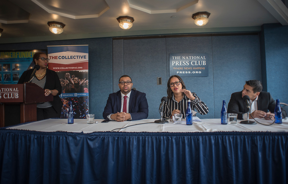 WASHINGTON, DC -- 3/7/18 --  From left: Stefanie Brown James, Quentin James, Jessica Byrd, and Ravi Gupta discuss the report.<br /> The Collective PAC releases a report entitled Underfunded, that details the disparities in funding for candidates of color compared to their white counterparts. Panelists discussing the report include Quentin James and Stefanie Brown James, co-founders of the Collective PAC; Jessica Byrd, founder of consulting firm Three Point Strategies; Ravi Gupta of The Arena and Jeff Johnson of JIJ Communications .&hellip;by Andr&eacute; Chung #_AC11077