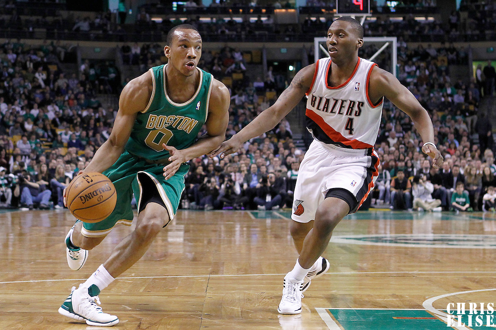 09 March 2012: Boston Celtics shooting guard Avery Bradley (0) drives past Portland Trailblazers guard Nolan Smith (4) during the Boston Celtics 104-86 victory over the Portland Trail Blazers at the TD Banknorth Garden, Boston, Massachusetts, USA.