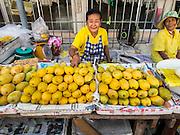 20 APRIL 2015 - BANGKOK, THAILAND:   Mango vendors in Talat Phlu market in the Thonburi section of Bangkok.    PHOTO BY JACK KURTZ
