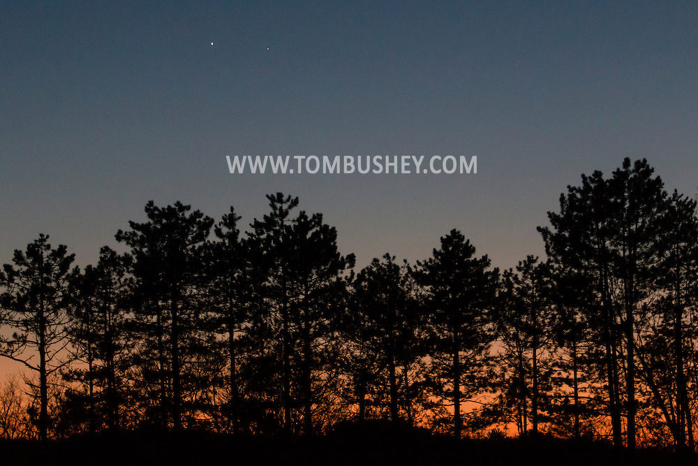 Middletown, New York - The planets Venus, at left,  and Mercury were visible together in the western sky after sunset on Jan. 13, 2015.