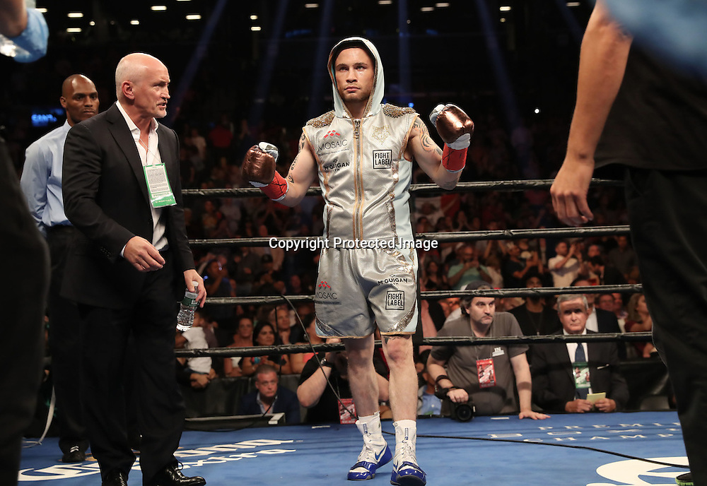 WBA featherweight Title Contest, Barclays Centre, Brooklyn, NY, USA 30/7/2016<br />Carl Frampton and Barry McGuigan before the fight<br />Mandatory Credit &copy;INPHO/Presseye/William Cherry